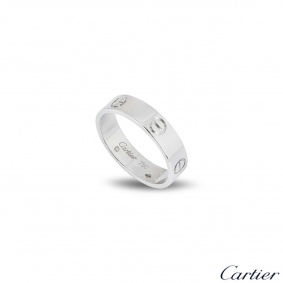 Cartier White Gold Plain Love Ring Size 54 B4084700